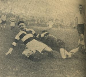 Valentine is thwarted by Rochdale keeper Billy Baker in a first round FA Cup tie at The Shay, 30 November 1935